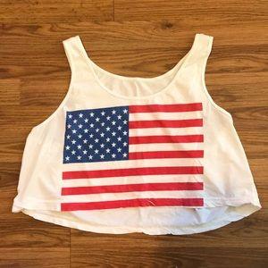 American Apparel   American flag crop tank top